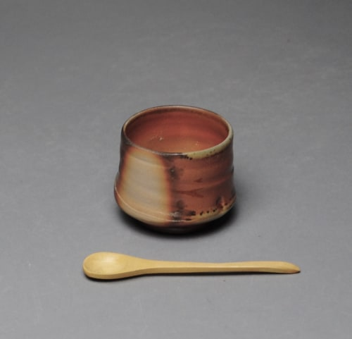 Tableware by John McCoy Pottery seen at Creator's Studio, West Palm Beach - Salt Cellar with Wood Spoon