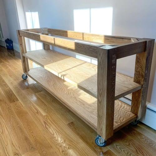 Furniture by Lighthouse Woodworks seen at Private Residence, Cambridge - Custom Mobile Island