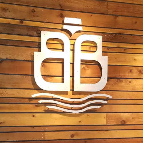 Signage by Bainbridge Island Woodworks seen at Bainbridge Brewing Alehouse, Bainbridge Island - Bainbridge Brewing Logo Signage