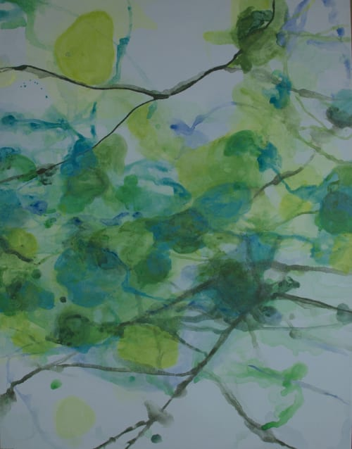 Paintings by Wendy Grace seen at Rose Chapel, Macquarie Park - wooded hollow series