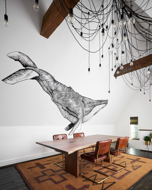 Murals by Relativity Textiles seen at Private Residence, Hinsdale - Whale