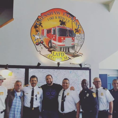 Murals by Viva Che -  Michael Che Romero seen at Los Angeles Fire Dept. Station 34, Los Angeles - Mural