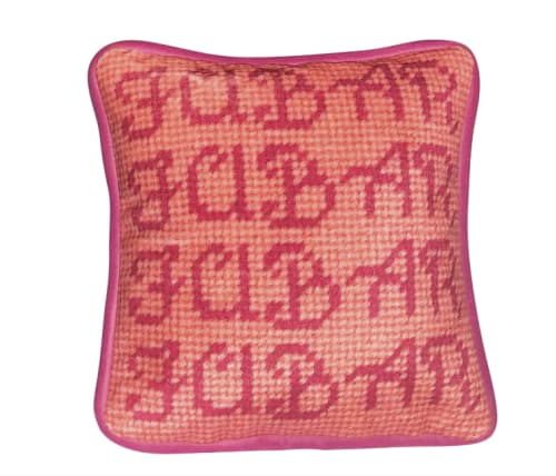 Pillows by Mommani Threads seen at Private Residence, Blowing Rock - velvet FUBAR toss pillow / custom made