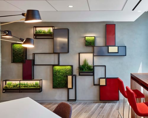 "Furniture by Amuneal seen at Paul Hastings, New York - ""Garden On The Wall"" units"