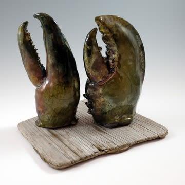 Sculptures by Anne Alexander Sculptor seen at 12 Elm St, Rockland - Lobster Claw Sculptures