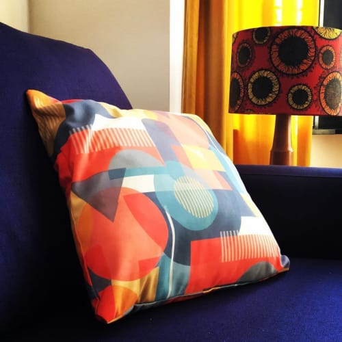 Pillows by Gail Myerscough seen at Private Residence - Berger Red Cushion