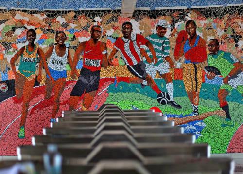 Public Mosaics by Maggie Otieno seen at Imara Diama Railway Station, Nairobi - Celebrating the Kenyan athlete