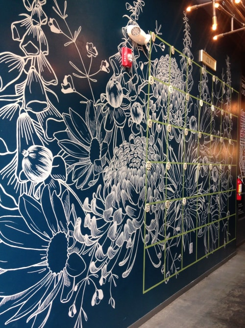 Murals by Megan Lingerfelt seen at Chophouse Row, Seattle - Floral Calendar