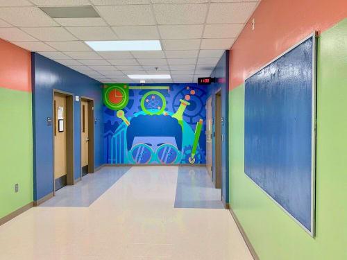 Murals by Tes Arlette seen at The B.E.S.T. Academy 6-12, Atlanta - STE(A)M