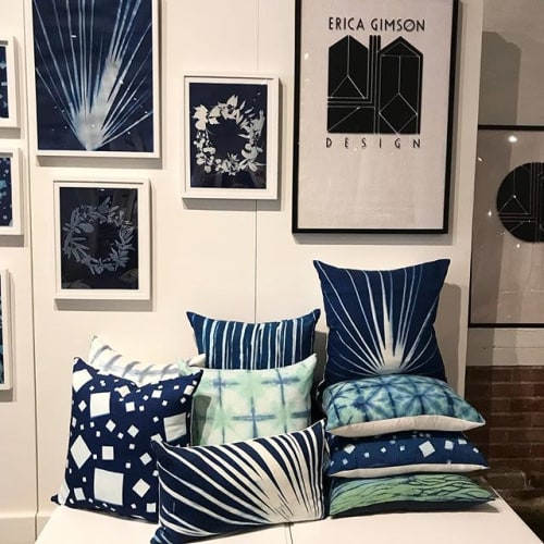 Art & Wall Decor by Erica Gimson Design seen at Plant Seven, High Point - Erica Gimson Design handmade decorative pillows and cyanotype artwork
