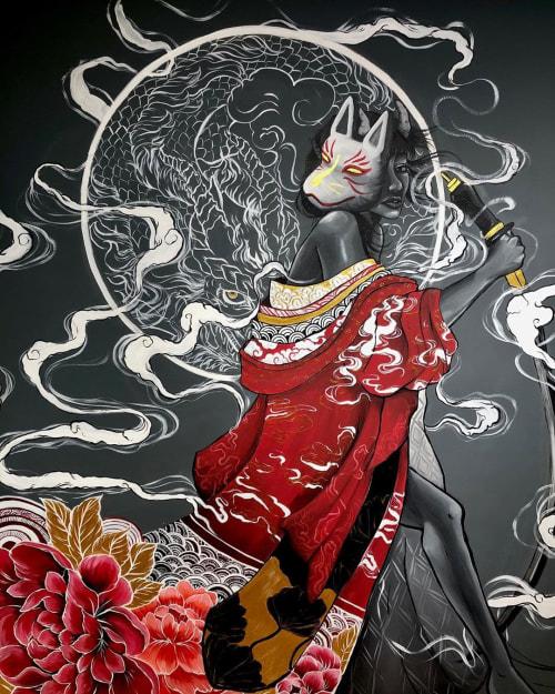 Murals by Lakar by Mekar seen at VAPEBOSS CYBERJAYA, Cyberjaya - Kitsune Samurai