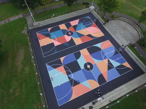Street Murals by Scott Albrecht seen at New Rochelle, New Rochelle - Lincoln Park Basketball Courts