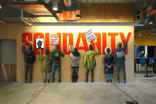 "Murals by No Touching Ground seen at Facebook Dexter, Seattle - ""Solidarity"" mural"