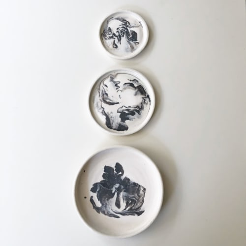 Wall Hangings by Jamila Goods - Jess Miller seen at Private Residence, Chicago - Marble ceramic plate wall-hanging