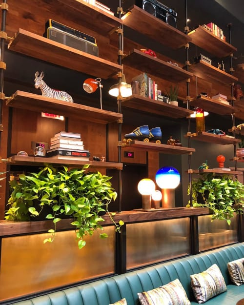 Furniture by Amuneal seen at Moxy NYC Downtown, New York - Loft Shelving System