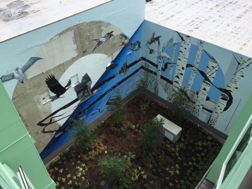 Murals by Erik Burke seen at Beryl Apartments, Seattle - Contribute