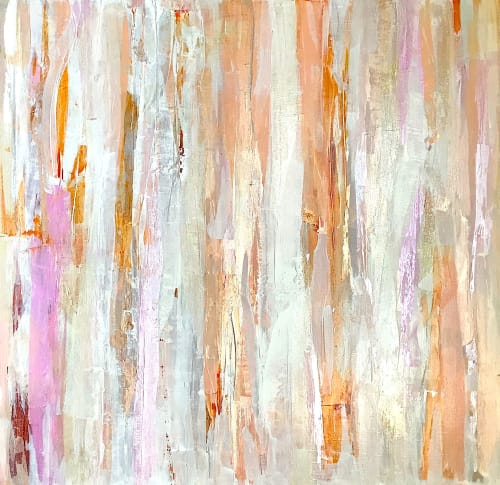 Paintings by Linnea Heide contemporary fine art seen at Private Residence - 'FiRELiGHT' original abstract painting by Linnea Heide