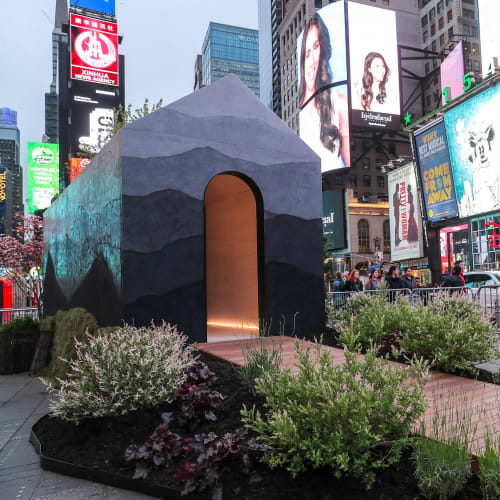 Public Sculptures by Fernando Mastrangelo seen at Times Square, New York - Tiny House