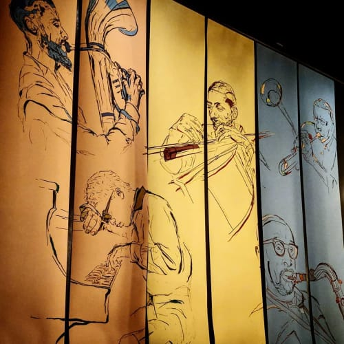 Murals by Auspice Design seen at Alba Ray's, San Francisco - Pen and Ink Mural