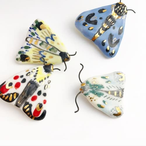 Sculptures by BIRDCANFOX seen at Private Residence, Bristol - Porcelain moth magnets