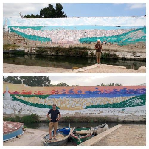 Street Murals by Josh Scheuerman seen at El Port pesquer de Sant Carles de la Ràpita, San Carlos de la Rápita - La Rapita Mural
