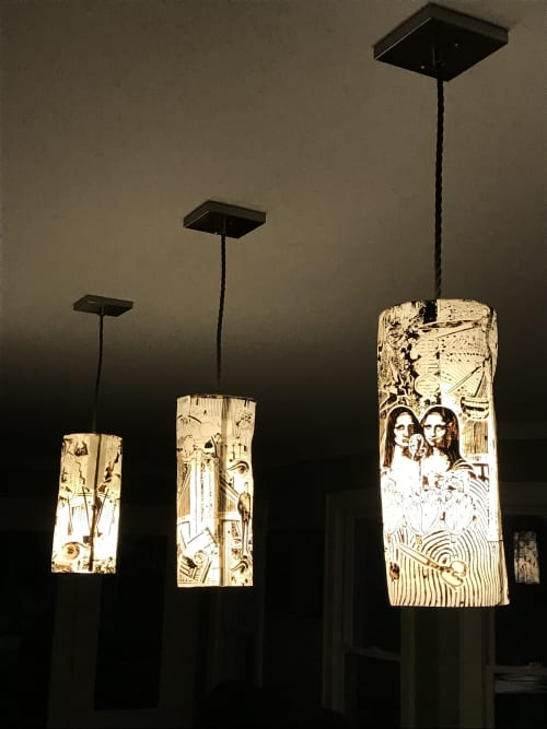 Lamps by Mimi Logothetis Porcelain seen at Private Residence, Hillsborough - custom decorated hand made porcelain pendant lamps