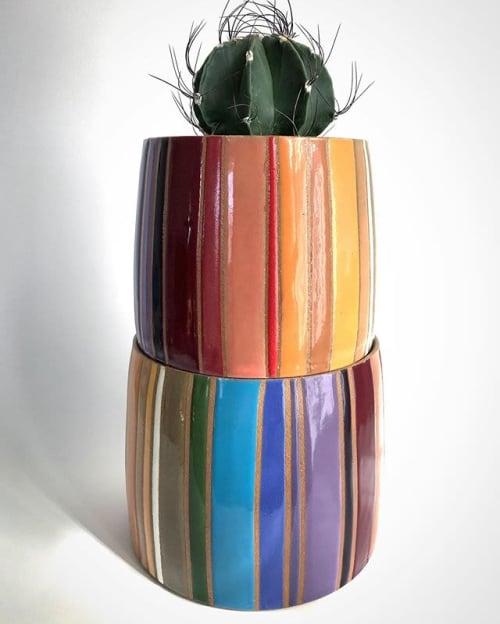 Vases & Vessels by Christine Tenenholtz Ceramics seen at Private Residence - Glazed stripes planter