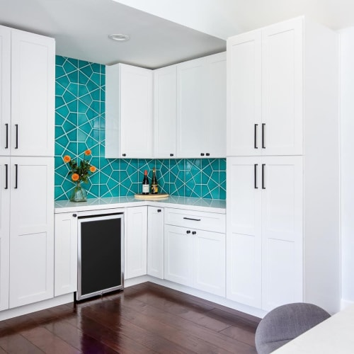 Tiles by Fireclay Tile seen at Private Residence, San Diego - Naples Blue Hexite Tile