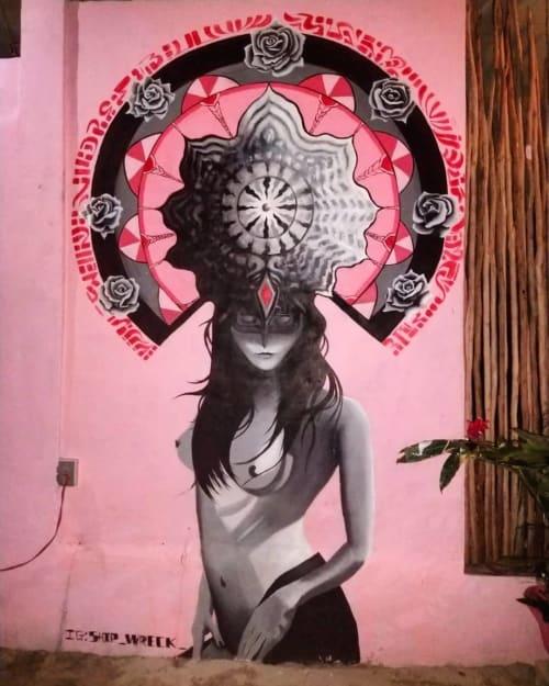 Murals by Shipwreck seen at Ciel Rose Sunset Bar, Tulum - Girl with Headdress Mural