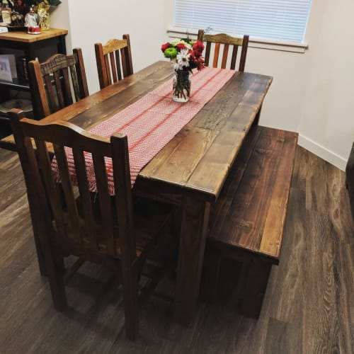 Remarkable Rustic Style Dining Table Bench By Beneath The Bark Seen Andrewgaddart Wooden Chair Designs For Living Room Andrewgaddartcom