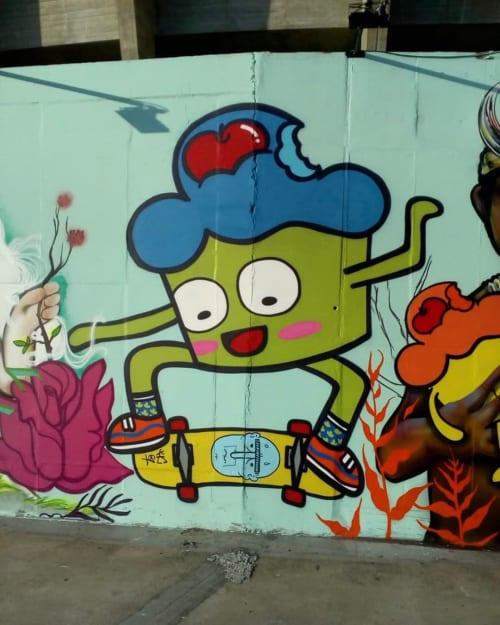 Street Murals by Bolinho seen at Mineirão, São José - Graffiti Mural
