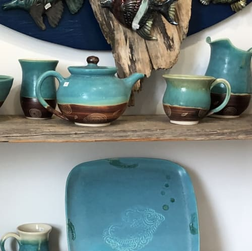 Tableware by Urn Song Pottery seen at Northern Sun Gallery & Gifts, Mahone Bay - Tree Ring Teapot