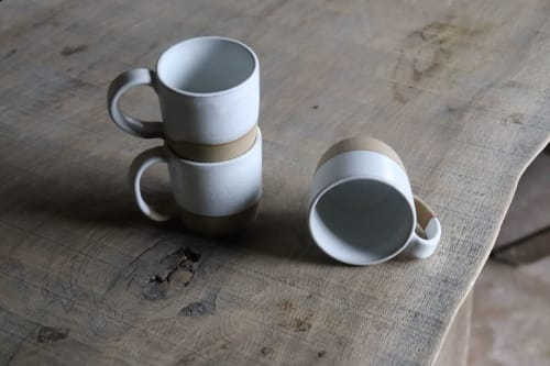 White ceramic coffee cup | Cups by Ceramics by Charlotte | Private Residence in Maffe