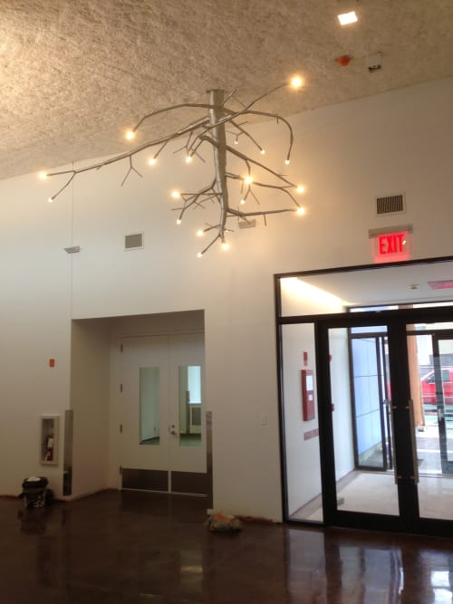 Chandeliers by CP Lighting seen at Bushwick Inlet Parks, Brooklyn - newGROWTH Chandelier