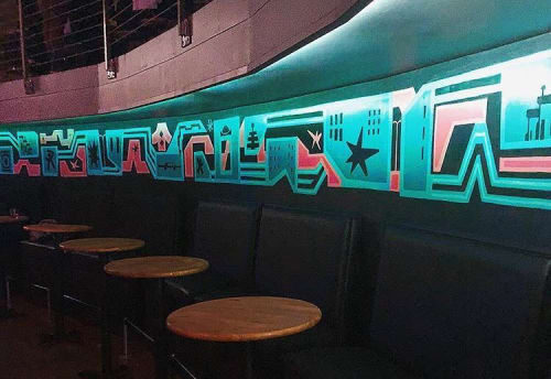 Murals by Brian Barneclo seen at Emporium SF - Arcade Bar Venue, San Francisco - Panoramic mural in Emporium SF