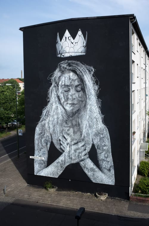 """Street Murals by Nuno Viegas seen at Ostseestraße, Berlin - """"Everything Connected"""" - Collaboration with Snik"""