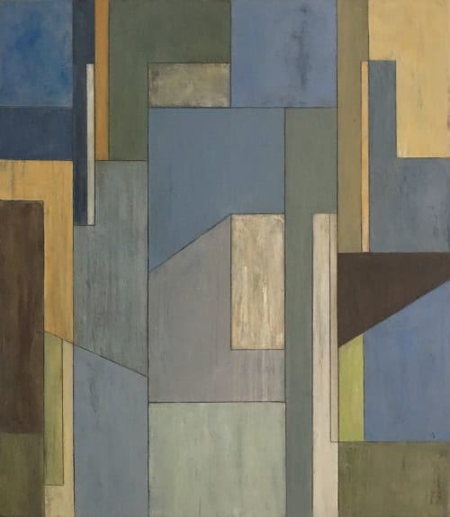 Paintings by stephen cimini seen at Private Residence, New York - Foxtrot geometric abstract painting