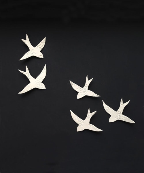 Art & Wall Decor by Elizabeth Prince Ceramics seen at Private Residence, Manchester - Swallows Over Morocco 5 White Birds
