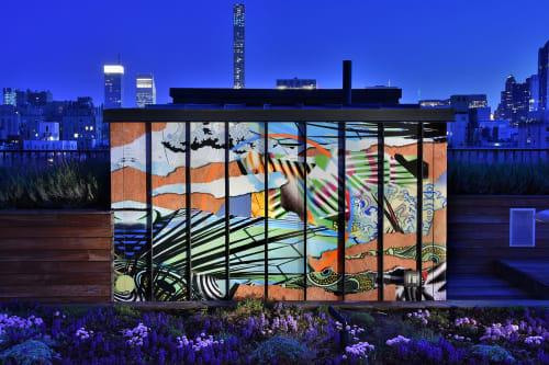 """Murals by Peter D. Gerakaris Studio seen at The Surrey, New York - """"Floating Garden"""" - Installation for The Surrey Hotel Rooftop Garden"""