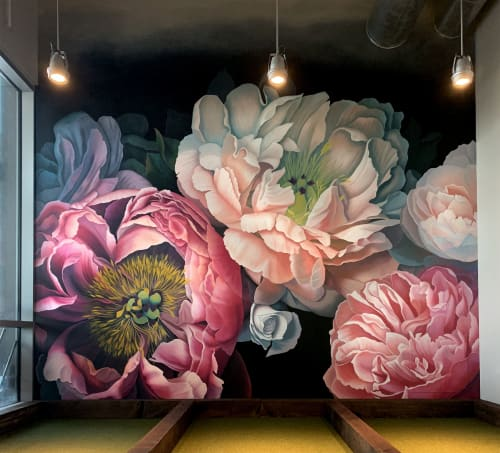 Murals by Nicolette Atelier seen at Pinstripes, Houston - Bohemian Blooms Houston