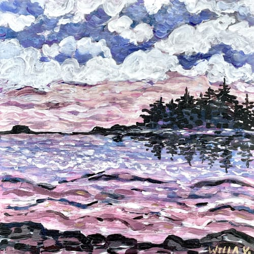 Paintings by willa vennema seen at Creator's Studio, Portland - Islands with Colorful Sunset