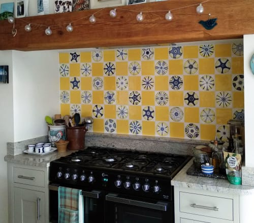 Tiles by Reptile Tiles seen at Private Residence, Ledbury - Yellow Diatom tiles