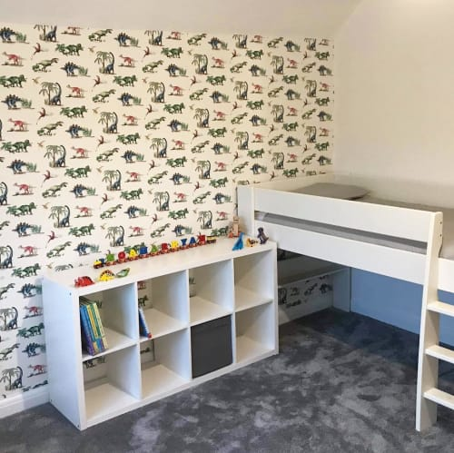 Wallpaper by Katie Hipwell seen at Private Residence, London - Dinosaurs Ivory Wallpaper