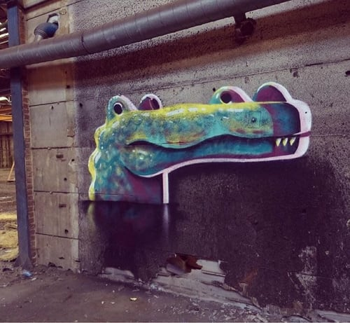 Street Murals by SH seen at Brussels, Brussels - Mr. Croc