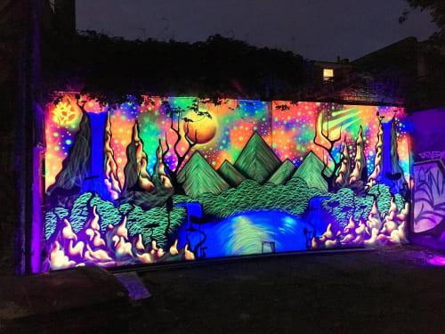 Murals by Bintleyart seen at VIP Graffiti Paint, London - UV Land
