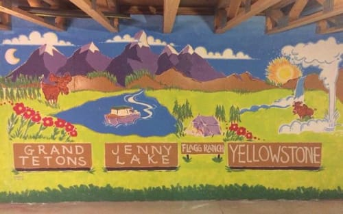 Murals by Corbin Hillam Design seen at Private Residence, Aurora - Playroom Mural Of The Grand Tetons