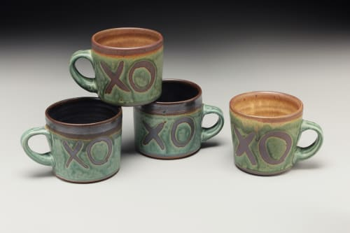 Cups by Crazy Green Studios seen at The Village Potters Clay Center, Asheville - XO Mugs