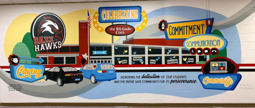 Murals by Toni Miraldi / Mural Envy, LLC seen at SAXE MIDDLE SCHOOL, New Canaan - Positive Messages School Mural