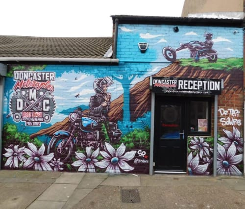 Street Murals by Keith Hopewell seen at Doncaster Motorcycles, Doncaster - mural (motorcycle)