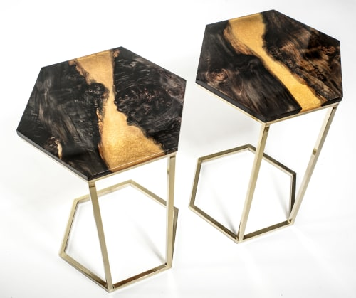 Tables by Lumberlust Designs seen at Private Residence in Phoenix, AZ, Phoenix - Ebonized Maple Gold River Resin Art Hexagonal Brass C-Table
